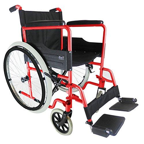 D Pro T Luxus-Rollstuhl, selbstfahrend, mit herausnehmbaren Fußstützen, pannensicheren Reifen und Armlehnen rot