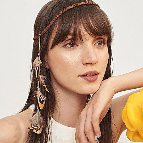 jovono indischen Feder Haarband Quaste Hanf Seil Bohemian Haarband für Frauen Mädchen Festival ()