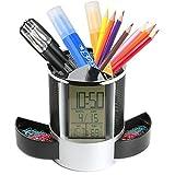 AlleTechPlus - Pot à crayons polyvalent en maille métallique, avec horloge de bureau numérique à affichage LED, fonctions calendrier, minuterie, réveil, thermomètre, avec 2petits tiroirs