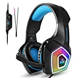 Gaming Headset, Tenswall PS4 Gaming Headset, LED-Licht Wired PC Gaming Kopfh�rer mit Mikrofon, 3,5 mm Over-Ear Headset Kopfb�gel Bass Stereo und Noise Cancelling- und Lautst�rkeregler f�r universelle Kompatibilit�t wie Xbox One S, Nintendo Schalter, PC, Notebook, Tablet, Handy?(blau) Bild