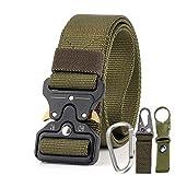 Leking Herren Taktischer Gürtel, Militär-Stil, Nylon-Webgürtel mit robuster Schnellverschluss-Metallschnalle grün