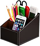 Levin Desktop Creative Leather Storage Box Remote Control Mobile Phone Cosmetics Office Supplies Holder Collection Desk Organizer Office Desk Organiser Set Office Desk Tidy Organizer Supplies Storage Office Desktop Leather Storage Boxes Desk Accessories Desk Leather Office Storage Business Stationery Storage Box (Brown)