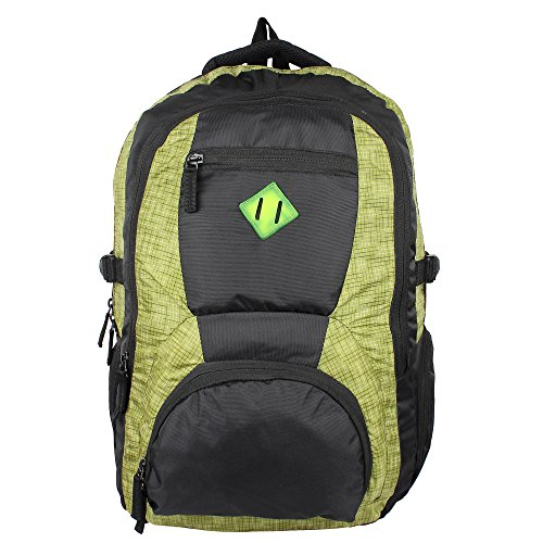 AmazingHind Laptop backpack. Water Resistant Polyester Travel Backpacks for 15.6-Inch Laptop and Notebook | Color-Green+Black