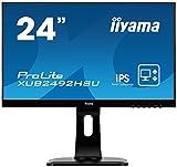iiyama ProLite XUB2492HSU-B1 60,5cm (23,8 Zoll) IPS LED-Monitor Full-HD (VGA, HDMI, DisplayPort, USB2.0, Ultra-Slim-Line, Höhenverstellung, Pivot) schwarz