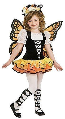 Kinder Mädchen Gelber Schmetterling + Wings Fee Animal Mini Biest Kostüm Kleid Outfit 1-10 jahre - Gelb/Schwarz, 80-92 (Monarch Kostüm)