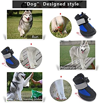 PetPi 4pcs x Paw Protector Blue Dog Shoes Waterproof + Anti-slip Rubber Sole with Reflective Velcro for Yorkshire… 4