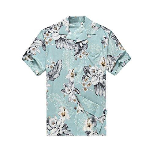 Hawaii-Hangover-Camisa-hawaiana-de-los-hombres-Camisa-Hawaiana-XL-Borde-del-hibisco-en-azul-del-Aqua