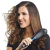 #10: FLIPCO Simply Straight Ceramic Electric DigitalFast Brush Magic Hair Straightener Comb Lcd Smooth Straightener Brush Hair Irons