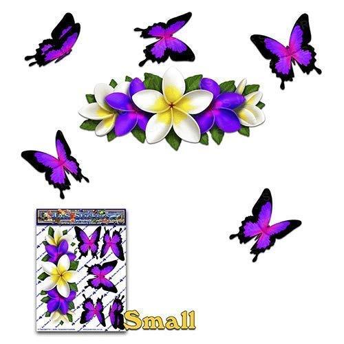 Blume Lila Frangipani PLUMERIA Kleines Zentrum + Schmetterling Tier Autoaufkleber - ST00046PL_SML - JAS Aufkleber -