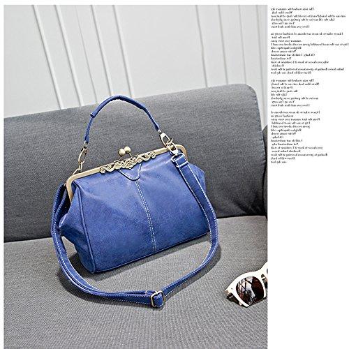 Mufly Borsa Tote da Donna Handbag Messaggero Elegante in PU Bucciato Bag Grande Capacità a Spalla con Tracolla Regolabile Royal Blu