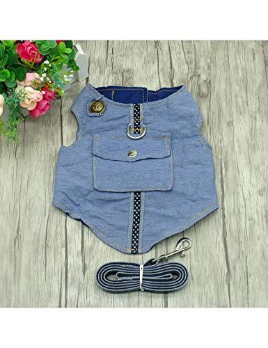 XQQX Hundeleine DenimGurt Und Leine Jeans -Haustier -Weste -Jacke Für Kleine Weste Kleidung, Bluel