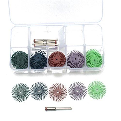 ILS - 30 Stücke 25mm Radial Borste Tellerbürsten 80-1000 Grit mit 5 Stücke Mandrel Rotary-Adapter