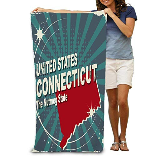 zixxoxxz Bath Towel Soft Big Beach Towel 31'x 51' Abstract Label Name Map Connecticut Abstract Label Name Map Connecticut