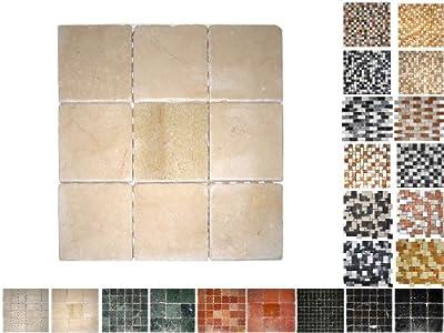 1Netz Marmor Mosaik Cream 100 von Mosaikdiscount24 bei TapetenShop