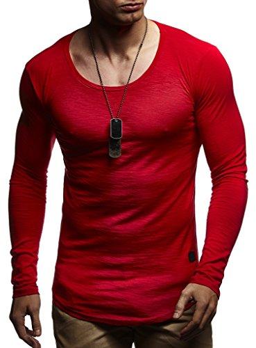 LEIF NELSON Herren Pullover Kapuzenpullover Hoodie Longsleeve Sweatshirt Tiefer Rundhals Ausschnitt acke Langarm Shirt (Weste Herren-pullover Rot)