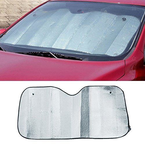 Vococal - Parasole de Parabrisas de Coche / Quitasol de la Ventana Delantera / Visera Protector Solar de Parabrisas con 2 piezas Ventosas (Tamaño: 51.18 x 23.62 pulgadas)