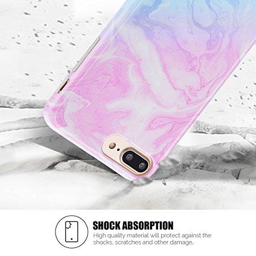 Cover iPhone 7 Plus Spiritsun Case iPhone 8 Plus Custodia Moda Ultraslim Soft TPU Case Handy Cover High Quality Case Elegante Souple Flessibile Liscio Copertura Perfetta Protezione Shell Morbido Silic Rosa e Blu