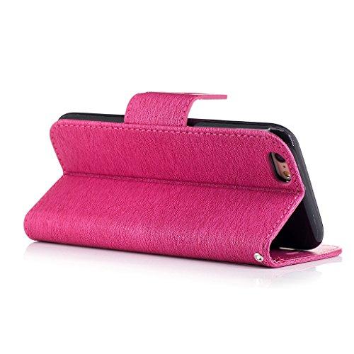 Crisant 3D Blumenschmetterling Drucken Design schutzhülle für Apple iPhone 6 6S 4.7'' (4,7''),PU Leder Wallet Handytasche Flip Case Cover Etui Schutz Tasche mit Integrierten Card Kartensteckplätzen un Rose