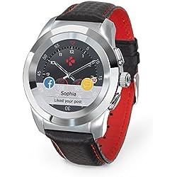 MyKronoz ZeTime Premium Reloj Inteligente híbrido 44mm con Agujas mecánicas sobre una Pantalla a Color táctil – Regular Polished Plateado/Costura roja y Negro Carbon