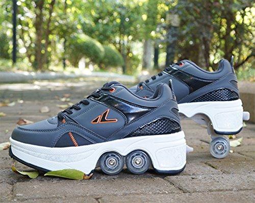 Schuhe mit Rollen Jungen Mädchen Freizeit 4 Rad Transform Rollschuhe Skate Sneaker Damen Herren Schwarz