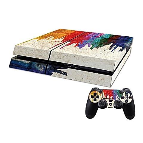 DOTBUY PS4 Skin Aufkleber Sticker Design Folie schützende Haut Schale für Sony Playstation 4 Konsole und 2 Dualshock Controller (Color Paint)