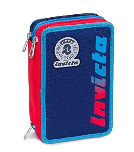 Astuccio 3 zip invicta, kupang, blu rosso, con contenuto: matite, pennarelli