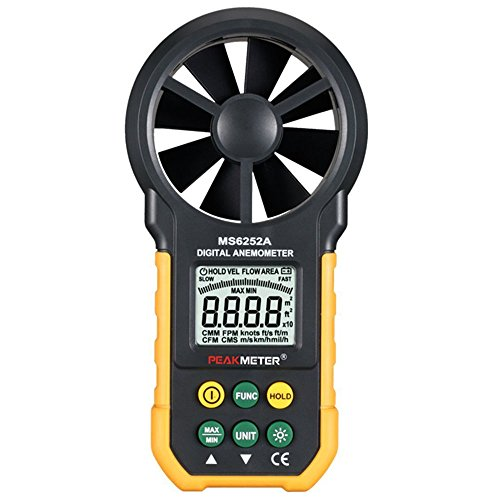 Peakmeter MS6252 A digitale multifunzione anemometro Handheld LCD Electronic Wind Speed Air volume measuring Meter con retroilluminazione