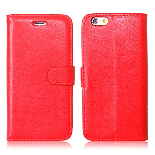 Apple iPhone 6 - Protective Comfortable Closure Leather Case/Cover / Bumper/Skin / Cushion - Fashion Art Collection (Red)