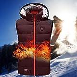 Gilet Chauffant électrique réglable USB pour Hommes Femmes, Gilets Chauffants Rechargeables pour Moto Gilet Chauffant Vêtements pour l'hiver Ski Randonnée Voyage Pêche Golf - Lavable