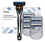 Amazon Brand - Solimo Male 5 blade men's razor with 6 refills