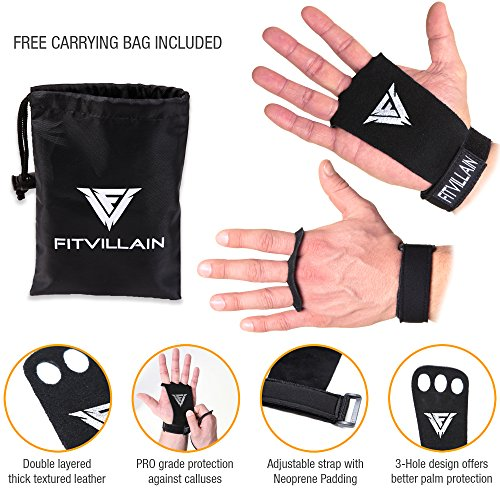 Crossfit-Gymnastic-Hand-Grips-3-hole-Leather-Wod-Palm-Guard-Gloves-Callus-Protection-For-Gym-Bar-Pull-Up-Chin-Ups-Calisthenics-Kettlebell-Fitness-Sports-Weightlifting-Training-Black-M