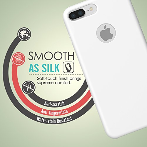 MoKo Coque iPhone 7 Plus en Silicone flexible de la haute qualité ultra mince, anti-choc et anti-rayures, Protection de la caméra, Rouge Blanc