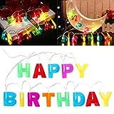 """LEDMOMO LED Lichterkette """"Happy Birthday"""" Buchstaben Lichterkette ,Batterie betrieben 130 cm lang Deko-Artikel für Kinder-Geburtstag Geburtstags-Party PartyArtikel"""