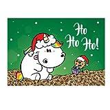 Pummeleinhorn Postkarte (quer) - X-Mas Ho Ho Ho!