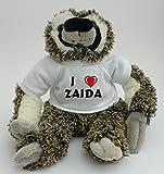 Plüsches Faultier mit T-shirt mit Aufschrift Ich liebe Zaida (Vorname/Zuname/Spitzname)