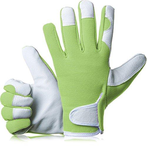 GardenersDream Guantes de jardinería/guantes de trabajode piel –Guantes medianos ajustados de calidad Premium –Regalo ideal para hombres y mujeres en un aniversario, cumpleaños o Navidad, verde