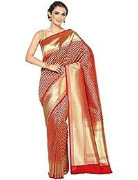 Banarasi Silk Works Silk Satin Saree With Blouse Piece(PTE85_Red_Free Size)