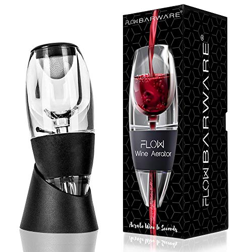 Aeratore per vino rosso con base di supporto, filtro per sedimenti e borsa di stoccaggio. flow barware - set regalo per gli amanti del vino