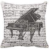 """Funda para almohada para sofá fundas de almohada de Vintage hoja música de piano con un exterior decorativa fundas de cojín lienzo Accent fundas de almohada de 45x 45cm """""""
