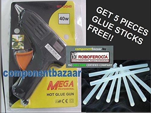 40 Watt Brand New Hot Melt Glue Gun with 5 Pieces Big Glue Sticks Free