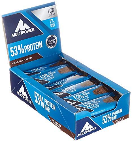 Multipower Eiweißriegel Box Schoko Fitnessriegel 53% Protein Bar, 24 x 50 g -