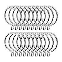 EDATOFLY 24 Pieces Curtain Rings Metal Shower Curtain Rings Sliver for Curtain Rod, Rail, Track (38 mm)
