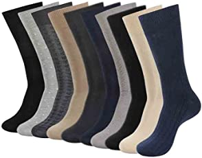 Balenzia Men's Combed Cotton Socks (Black, Navy, L.Grey, D.Grey, Beige, MD-MDP-01) - Pack of 10