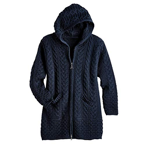 West End Knitwear Brigid Kapuze Aran Strickjacke - Marine - XL (Aran-strickjacke)