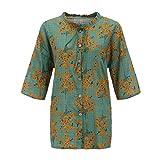 Damen Bluse Lose Einfarbig Große Größen Rundhals Kurzarm Leinen Lässige Tops T-Shirt Drucken/Dorical Frauen Plus Size Taschen Bandage Bluse Lang-shirt Casual Bluse Hemd Shirt S-5XL(Grün,L5)