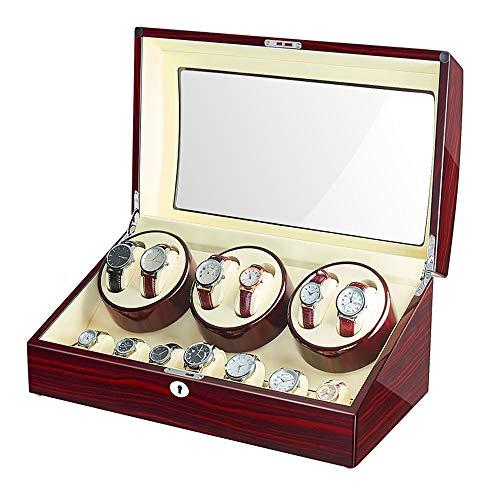 Jqueen Watch Winder scatola carica con 6posizioni, 7spazi, 10modalità, scocca in legno, piano vernice nera lucida display box case