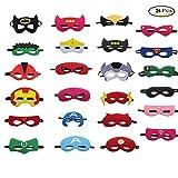 SmileStar Maschere per Bambini 24Pcs Maschere Feltro Superhero Mask con Corda Elastica,Ideale per Feste di Bambini (24 colore)