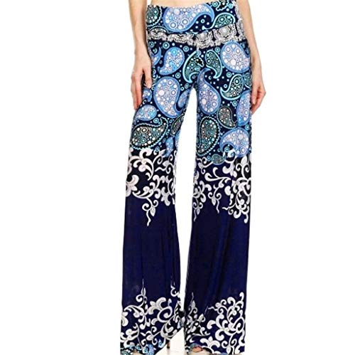 Gypsy Kostüm Katze - MYMYG Damen Blumen Druck Hosen Täglich Beiläufiger Loose Print Stretchy Weites Bein Palazzo Lounge Long Pants Stoffhose Schlaghosen Hippy Boho Gypsy Festival Hipster Style Haremshose