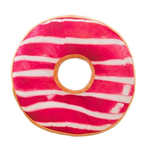 HLHN, morbida federa per cuscino in tessuto peluche a forma di ciambella, alimenti, federa, a forma rotonda, cuscino per divano, casa, camera, ufficio, caffetteria, auto 40cm x 40