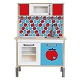 Limmaland Klebefolie byGraziela Apfel passend für Deine IKEA Kinderküche DUKTIG (Farbe Blau/Rot) - Möbel Nicht inklusive